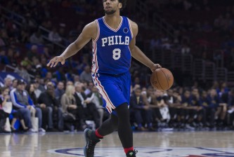 PHILADELPHIA, PA - OCTOBER 30: Jahlil Okafor #8 of the Philadelphia 76ers plays in the game against the Utah Jazz on October 30, 2015 at the Wells Fargo Center in Philadelphia, Pennsylvania. NOTE TO USER: User expressly acknowledges and agrees that, by downloading and or using this photograph, User is consenting to the terms and conditions of the Getty Images License Agreement. (Photo by Mitchell Leff/Getty Images)