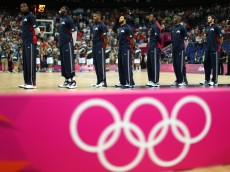 LONDON, ENGLAND - AUGUST 10:  The United States team stands during the national anthem before taking on Argentina in the Men's Basketball semifinal match on Day 14 of the London 2012 Olympic Games at the North Greenwich Arenaon August 10, 2012 in London, England.  (Photo by Christian Petersen/Getty Images)