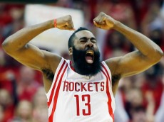 HOUSTON, TX - APRIL 28:  James Harden #13 of the Houston Rockets celebrates a late basket against the Dallas Mavericks during Game Five in the Western Conference Quarterfinals of the 2015 NBA Playoffs on April 28, 2015 at the Toyota Center in Houston, Texas. NOTE TO USER: User expressly acknowledges and agrees that, by downloading and/or using this photograph, user is consenting to the terms and conditions of the Getty Images License Agreement.  (Photo by Scott Halleran/Getty Images)