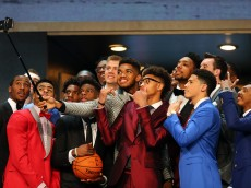 NEW YORK, NY - JUNE 25: Karl-Anthony Towns holds a selfie stick with other top prospects before the start of the First Round of the 2015 NBA Draft at the Barclays Center on June 25, 2015 in the Brooklyn borough of  New York City. NOTE TO USER: User expressly acknowledges and agrees that, by downloading and or using this photograph, User is consenting to the terms and conditions of the Getty Images License Agreement.  (Photo by Elsa/Getty Images)