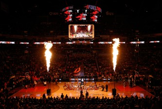 PHOENIX, AZ - NOVEMBER 26:  General view before the NBA game between the Phoenix Suns and the Denver Nuggets at US Airways Center on November 26, 2014 in Phoenix, Arizona. The Suns defeated the Nuggets 120-112.  NOTE TO USER: User expressly acknowledges and agrees that, by downloading and or using this photograph, User is consenting to the terms and conditions of the Getty Images License Agreement.  (Photo by Christian Petersen/Getty Images)
