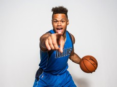 TARRYTOWN, NY - AUGUST 08:  Justin Anderson #1 of the Dallas Mavericks poses for a portrait during the 2015 NBA rookie photo shoot on August 8, 2015 at the Madison Square Garden Training Facility in Tarrytown, New York. NOTE TO USER: User expressly acknowledges and agrees that, by downloading and or using this photograph, User is consenting to the terms and conditions of the Getty Images License Agreement.   (Photo by Nick Laham/Getty Images)