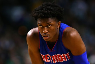 BOSTON, MA - JANUARY 06:  Stanley Johnson #3 of the Detroit Pistons looks on during the fourth quarter at TD Garden on January 6, 2016 in Boston, Massachusetts. The Pistons defeat the Celtics 99-94. NOTE TO USER: User expressly acknowledges and agrees that, by downloading and/or using this photograph, user is consenting to the terms and conditions of the Getty Images License Agreement.  (Photo by Maddie Meyer/Getty Images)