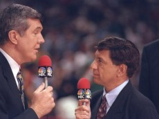 16 Jun 1996:  Commentators Marv Albert and Matt Goukas for NBC Sports speak to each other during a playoff game between the Seattle Supersonics and the Chicago Bulls at the United Center in Chicago, Illinois.  The Bulls won the game 87-75. Mandatory Credi