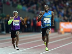 LONDON, ENGLAND - JULY 24:  Usain Bolt of Jamaica (r) and Michael Rodgers of the United States compete in the Mens 100m Final during day one of the Sainsbury's Anniversary Games at The Stadium - Queen Elizabeth Olympic Park on July 24, 2015 in London, England.  (Photo by Jamie McDonald/Getty Images)
