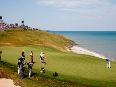 during the first round of the 2015 PGA Championship at Whistling Straits on August 13, 2015 in Sheboygan, Wisconsin.