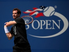 NEW YORK, NY - AUGUST 30:  Andy Murray of the United Kingdom hits a ball during a practice session prior to the U.S. Open at the USTA Billie Jean King National Tennis Center on August 30, 2015 in New York City.  (Photo by Chris Trotman/Getty Images for the USTA)