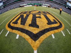 EAST RUTHERFORD, NJ - SEPTEMBER 13: The NFL shield is painted in gold and black after a game between the Cleveland Browns and the New York Jets  at MetLife Stadium on September 13, 2015 in East Rutherford, New Jersey. The new color scheme is to commemorate this years' Super Bowl witch will be the 50th edition. (Photo by Rich Schultz /Getty Images)