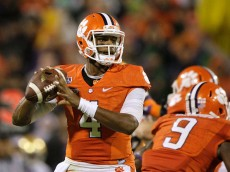 CLEMSON, SC - OCTOBER 3: Deshaun Watson #4 of the Clemson Tigers drops back to pass during the game against the Notre Dame Fighting Irish at Clemson Memorial Stadium on October 3, 2015 in Clemson, South Carolina. (Photo by Tyler Smith/Getty Images)