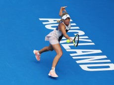 AUCKLAND, NEW ZEALAND - JANUARY 05:  Caroline Wozniacki of Denmark plays a backhand during her first round match against Danka Kovinic of Montenegro during day two of the 2016 ASB Classic at the ASB Tennis Arena on January 5, 2016 in Auckland, New Zealand.  (Photo by Hannah Peters/Getty Images)