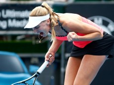 AUCKLAND, NEW ZEALAND - JANUARY 06:  Naomi Broady of Great Britain celebrates a point in her singles match against Jelena Ostapenko of Latvia during day three of the 2016 ASB Classic at ASB Tennis Arena on January 6, 2016 in Auckland, New Zealand.  (Photo by Phil Walter/Getty Images)