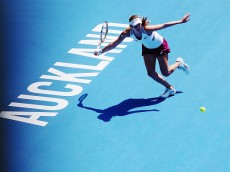 AUCKLAND, NEW ZEALAND - JANUARY 09:  Julia Joerges of Germany plays a forehand during her singles final match against  Sloane Stephens of the USA during day six of the 2016 ASB Classic at the ASB Tennis Arena on January 9, 2016 in Auckland, New Zealand.  (Photo by Hannah Peters/Getty Images)