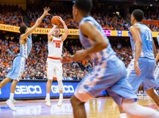 SYRACUSE, NY - JANUARY 09:  Trevor Cooney #10 of the Syracuse Orange shoots a three point shot during the second half against the North Carolina Tar Heels on January 9, 2016 at The Carrier Dome in Syracuse, New York.  North Carolina defeats Syracuse 84-73.  (Photo by Brett Carlsen/Getty Images) *** Local Caption *** Trevor Cooney