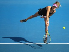 HOBART, AUSTRALIA - JANUARY 11:  Eugenie Bouchard of Canada serves in the women's single's match against Bethanie Mattek-Sands of the United States during day two of the 2016 Hobart International at the Domain Tennis Centre on January 11, 2016 in Hobart, Australia.  (Photo by Robert Cianflone/Getty Images)