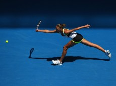 MELBOURNE, AUSTRALIA - JANUARY 19:  Karolina Pliskova of Czech Republic plays a backhand in her first round match against during day two of the 2016 Australian Open at Melbourne Park on January 19, 2016 in Melbourne, Australia.  (Photo by Scott Barbour/Getty Images)