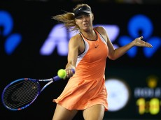 MELBOURNE, AUSTRALIA - JANUARY 22:  Maria Sharapova of Russia plays a forehand in her third round match against Lauren Davis of the United States during day five of the 2016 Australian Open at Melbourne Park on January 22, 2016 in Melbourne, Australia.  (Photo by Ryan Pierse/Getty Images)