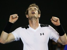 MELBOURNE, AUSTRALIA - JANUARY 27:  Andy Murray of Great Britain celebrates winning his quarter final match against David Ferrer of Spain during day 10 of the 2016 Australian Open at Melbourne Park on January 27, 2016 in Melbourne, Australia.  (Photo by Michael Dodge/Getty Images)