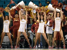 LAS VEGAS, NV - MARCH 11:  USC Trojans cheerleaders perform during a first-round game of the Pac-12 Basketball Tournament against the Arizona State Sun Devils at the MGM Grand Garden Arena on March 11, 2015 in Las Vegas, Nevada. USC won 67-64.  (Photo by Ethan Miller/Getty Images)