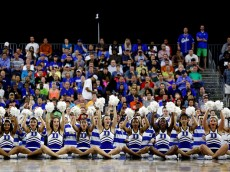 HOUSTON, TX - MARCH 29: Duke Blue Devils cheerleaders perform against the Gonzaga Bulldogs during the South Regional Final of the 2015 NCAA Men's Basketball Tournament at NRG Stadium on March 29, 2015 in Houston, Texas.  (Photo by Ronald Martinez/Getty Images)