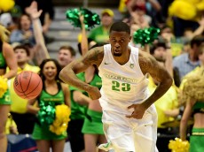 ANAHEIM, CA - MARCH 24:  Elgin Cook #23 of the Oregon Ducks reacts in the second half while taking on the Duke Blue Devils in the 2016 NCAA Men's Basketball Tournament West Regional at the Honda Center on March 24, 2016 in Anaheim, California.  (Photo by Harry How/Getty Images)