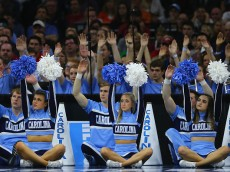 PHILADELPHIA, PA - MARCH 25:  North Carolina Tar Heels cheerleaders perform against the Indiana Hoosiers during the 2016 NCAA Men's Basketball Tournament East Regional at Wells Fargo Center on March 25, 2016 in Philadelphia, Pennsylvania.  (Photo by Elsa/Getty Images)