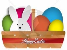 Vector - Happy Easter Rabbit Bunny and Eggs in Basket