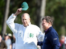 AUGUSTA, GEORGIA - APRIL 08:  Tom Watson of the United States and caddie Neil Oxman react on the 18th green during the second round of the 2016 Masters Tournament at Augusta National Golf Club on April 8, 2016 in Augusta, Georgia.  (Photo by Harry How/Getty Images)