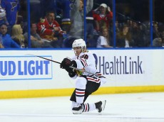 ST. LOUIS, MO - APRIL 21: Patrick Kane #88 of the Chicago Blackhawks celebrates after scoring the game-winning goal against the St. Louis Blues in Game Five of the Western Conference First Round during the 2016 NHL Stanley Cup Playoffs at the Scottrade Center on April 21, 2016 in St. Louis, Missouri.  The Blackhawks beat the Blues 4-3 in double overtime.  (Photo by Dilip Vishwanat/ Getty Images)