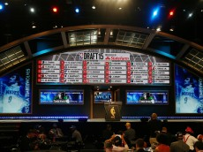 NEW YORK, NY - JUNE 25:  A displays the first 30 picks at the end of the First Round of the 2015 NBA Draft at the Barclays Center on June 25, 2015 in the Brooklyn borough of  New York City. NOTE TO USER: User expressly acknowledges and agrees that, by downloading and or using this photograph, User is consenting to the terms and conditions of the Getty Images License Agreement.  (Photo by Elsa/Getty Images)