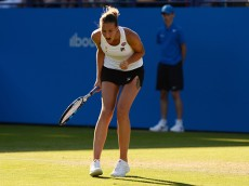 EASTBOURNE, ENGLAND - JUNE 24:Karolina Pliskova of the Czech Republic celebrate during the semi final match against Johanna Konta of Great Britain on day 6 at Devonshire Park on June 24, 2016 in Eastbourne, England. (Photo by Patrik Lundin/Getty Images)
