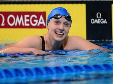 OMAHA, NE - JUNE 27:  Katie Ledecky of the United States celebrates after winning a final heat of the Women's 400 Meter Freestyle during Day 2 of the 2016 U.S. Olympic Team Swimming Trials at CenturyLink Center on June 27, 2016 in Omaha, Nebraska.  (Photo by Jeff Curry/Getty Images)