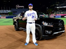 SAN DIEGO, CA - JULY 12:  Eric Hosmer #35 of the Kansas City Royals and the American League poses with the Ted Williams Most Valuable Player award after defeating the National League 4-2 during the 87th Annual MLB All-Star Game at PETCO Park on July 12, 2016 in San Diego, California.  (Photo by Harry How/Getty Images)