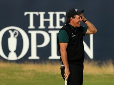 TROON, SCOTLAND - JULY 14:  Phil Mickelson of the United States reacts after his birdie putt narrowly missed the hole on the 18th during the first round on day one of the 145th Open Championship at Royal Troon on July 14, 2016 in Troon, Scotland.  (Photo by Mike Ehrmann/Getty Images)