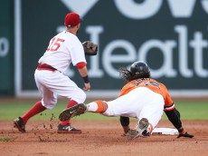 BOSTON, MA - JULY 20:  Brandon Crawford #35 of the San Francisco Giants dives into second base under the tag of Dustin Pedroia #15 of the Boston Red Sox during the second inning of the game at Fenway Park on July 20, 2016 in Boston, Massachusetts.  (Photo by Adam Glanzman/Getty Images)