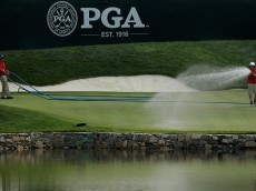 SPRINGFIELD, NJ - JULY 28:  The fourth green is watered during the first round of the 2016 PGA Championship at Baltusrol Golf Club on July 28, 2016 in Springfield, New Jersey.  (Photo by Andy Lyons/Getty Images)