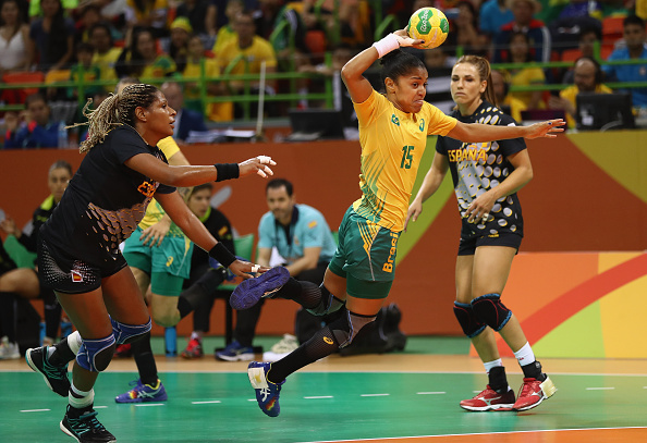 during the Womens Preliminary Group A match between Brazil and Spain at Future Arena on August 10, 2016 in Rio de Janeiro, Brazil.