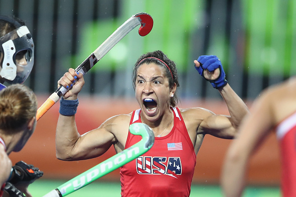 RIO DE JANEIRO, BRAZIL - AUGUST 10: Melissa Gonzalez of the United States celebrates scoring a goal during the women's pool B match between the United States and Japan on Day 5 of the Rio 2016 Olympic Games at the Olympic Hockey Centre on August 10, 2016 in Rio de Janeiro, Brazil. (Photo by Mark Kolbe/Getty Images)