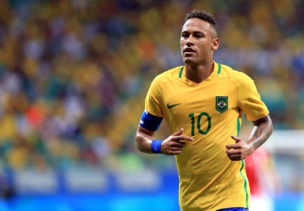 SALVADOR, BRAZIL - AUGUST 10: Neymar of Brazil in action during the match Brazil v Denmark on Day 5 of the Rio 2016 Olympic Games at Arena Fonte Nova on August 10, 2016 in Salvador, Brazil. (Photo by Felipe Oliveira/Getty Images)