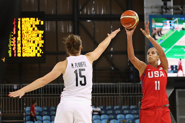 during the women's basketball game on Day 7 of the Rio 2016 Olympic Games at the Youth Arena on August 12, 2016 in Rio de Janeiro, Brazil.