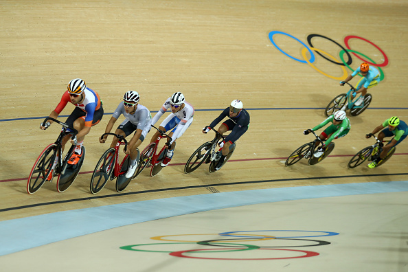 RIO DE JANEIRO, BRAZIL - AUGUST 15: Tim Veldt of the Netherlands, Chun Wing Leung of Hong Kong, China, Sanghoon Park of Korea and Mark Cavendish of Great Britain compete during the Cycling Track Men's Omnium Points Race 66 on Day 10 of the Rio 2016 Olympic Games at the Rio Olympic Velodrome on August 15, 2016 in Rio de Janeiro, Brazil. (Photo by Bryn Lennon/Getty Images)