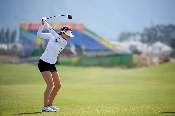 RIO DE JANEIRO, BRAZIL - AUGUST 16: Sandra Gal of Germany in actoin during a practice round prior to the Women's Individual Stroke Play golf at the Olympic Golf Course at Olympic Golf Course on August 16, 2016 in Rio de Janeiro, Brazil. (Photo by Ross Kinnaird/Getty Images)