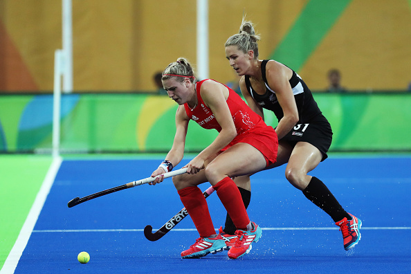during the Women's Semifinal match on Day 12 of the Rio 2016 Olympic Games at the Olympic Hockey Centre on August 17, 2016 in Rio de Janeiro, Brazil.