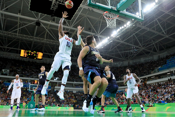 RIO DE JANEIRO, BRAZIL - AUGUST 17:  Kyrie Irving #10 of United States goes up for a shot in the lane against Argentina during the Men's Basketball Quarterfinal game at Carioca Arena 1 on Day 12 of the Rio 2016 Olympic Games on August 17, 2016 in Rio de Janeiro, Brazil.  (Photo by Tom Pennington/Getty Images)
