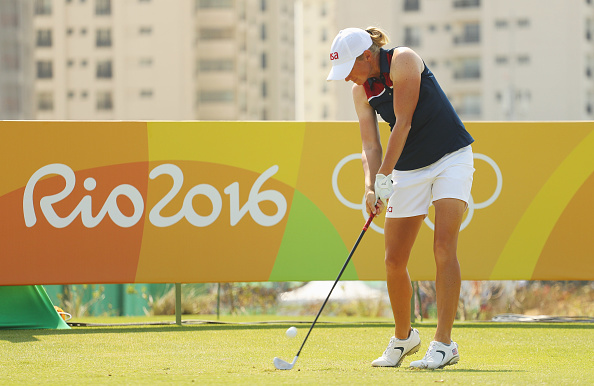 Stacy Lewis of the United States of the United States hits her tee shot on the fifth hole during the second round of the Women's Individual Stroke Play golf on Day 13 of the Rio 2016 Olympic Games at Olympic Golf Course on August 18, 2016 in Rio de Janeiro, Brazil.