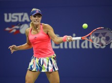 NEW YORK, NY - SEPTEMBER 02:  Angelique Kerber of Germany plays a forehand during her third round match against Catherine Bellis of USA on Day Five of the 2016 US Open at the USTA Billie Jean King National Tennis Center on September 2, 2016 in the Flushing neighborhood of the Queens borough of New York City.  (Photo by Andy Lyons/Getty Images)