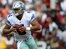 LANDOVER, MD - SEPTEMBER 18: Quarterback Dak Prescott #4 of the Dallas Cowboys looks to pass against the Washington Redskins in the first quarter at FedExField on September 18, 2016 in Landover, Maryland. (Photo by Patrick Smith/Getty Images)