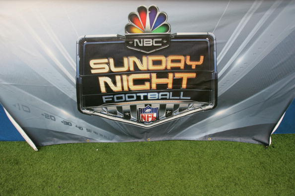 DALLAS - SEPTEMBER 17: The NBC Sunday Night Football logo is shown during the Washington Redskins game against the Dallas Cowboys at Texas Stadium on September 17, 2006 in Dallas, Texas. The Cowboys defeated the Redskins 27-10. (Photo by Ronald Martinez/Getty Images)