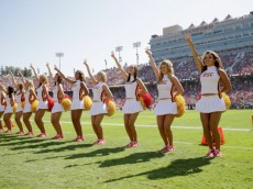 PALO ALTO, CA - SEPTEMBER 06:  The USC Trojans cheerleaders cheer on the side of the field during their game against the Stanford Cardinal at Stanford Stadium on September 6, 2014 in Palo Alto, California.  (Photo by Ezra Shaw/Getty Images)