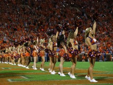 CLEMSON, SC - NOVEMBER 07:  The cheerleaders of the Clemson Tigers in action during their game against the Florida State Seminoles at Memorial Stadium on November 7, 2015 in Clemson, South Carolina.  (Photo by Streeter Lecka/Getty Images)