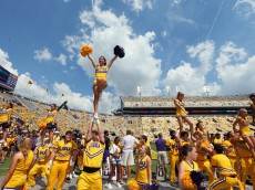 BATON ROUGE, LA - SEPTEMBER 19:  LSU Tigers cheerleaders perform during a game against the Auburn Tigers at Tiger Stadium on September 19, 2015 in Baton Rouge, Louisiana.  (Photo by Ronald Martinez/Getty Images)